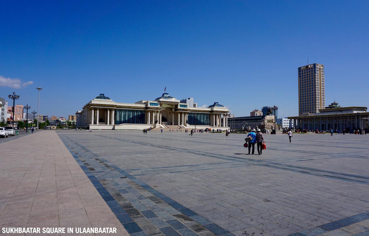 Sukhbaatar Square in UlaanBaatar, Mongolia