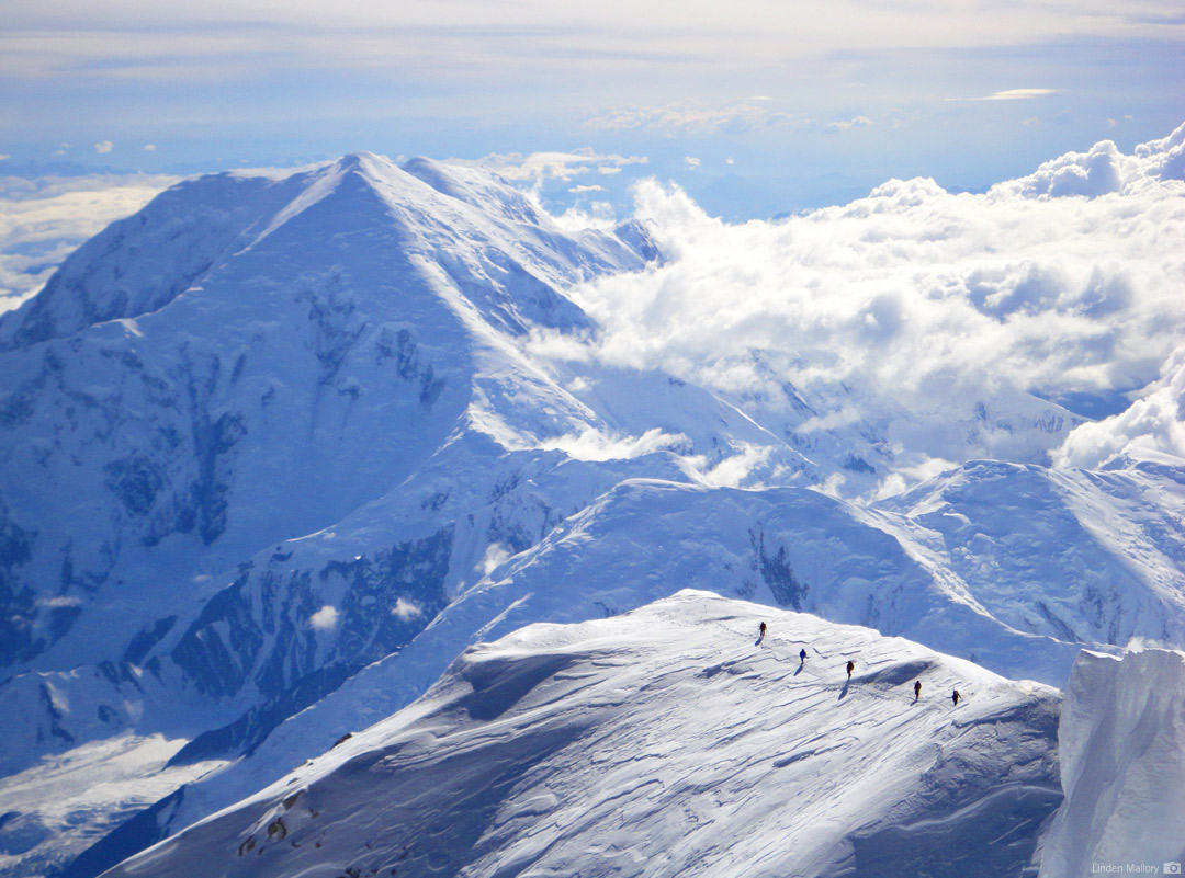 Climbers on Denali's Summit Ridge