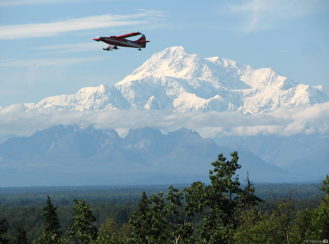 A ski plane taking off from Talkeetna bound for the Alaska Range