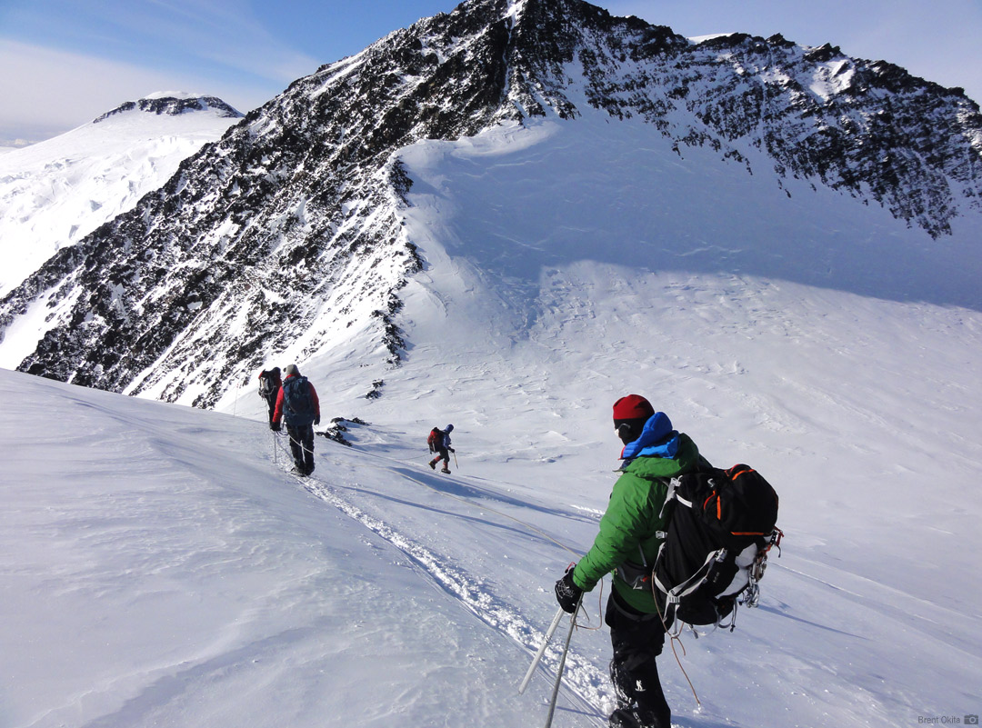 RMI Climbers descending toward Denali Pass after reaching the summit of Denali
