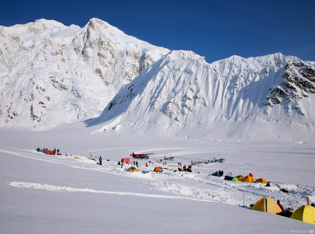 McKinley Base Camp on the Southeast Fork of the Kahiltna Glacier