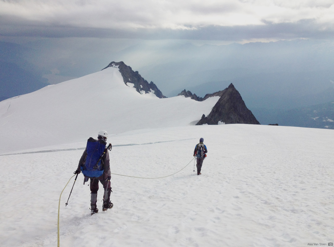 Returning on the Sulphide Glacier after a successful climb