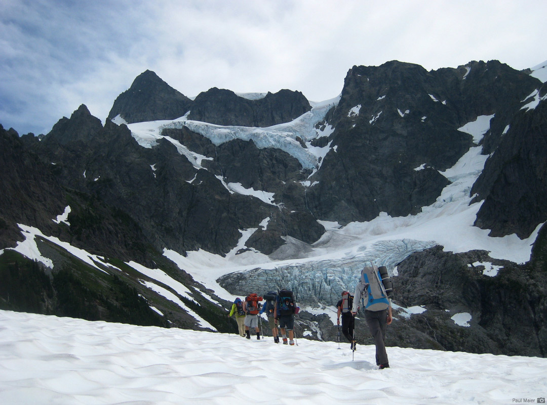 Approaching the base of Mt. Shuksan's Fisher Chimneys