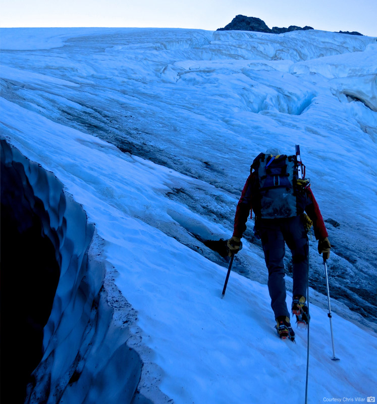 Stepping onto the Upper Curtis Glacier on Summit Day