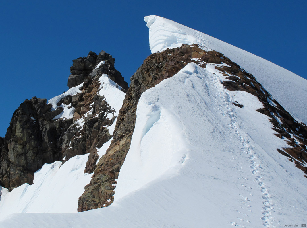 An RMI Climber nearing the summit of Sahale Mountain
