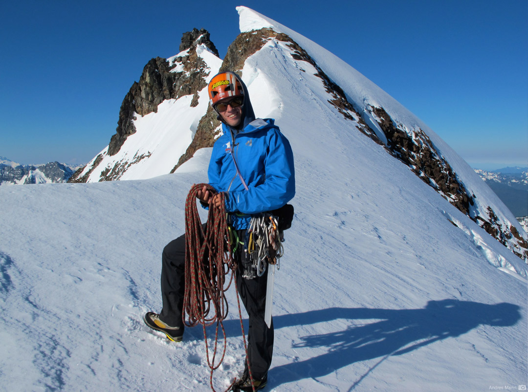 Coiling the rope on the summit ridge of Sahale Mountain