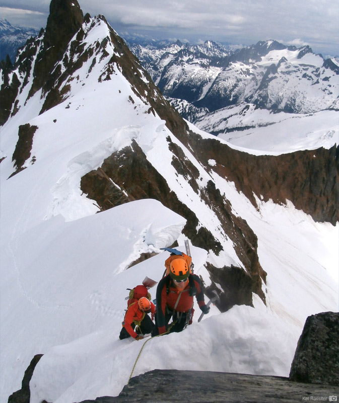 Climbing the final pitch of Sahale Mountain