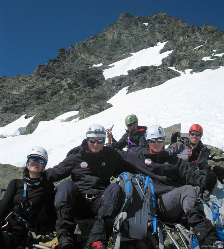 An RMI Team below Mt. Shuksan's Summit Pyramid after reaching the top