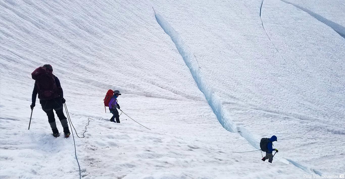 Descending Baker's Easton Glacier